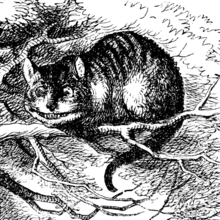 The cheshire cat in Lewis Carroll's Alice in Wonderland drawn by John Tenniel (1820-1914) in the 1866 edition.