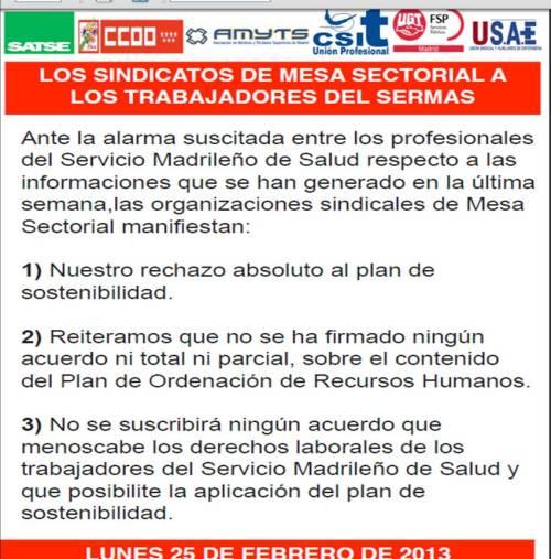Cartel de Organizaciones Sindicales 25/02/13