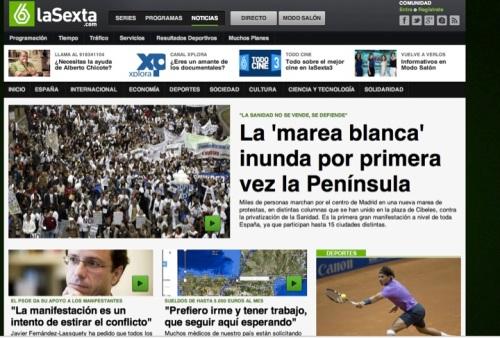 Portada de la página de noticias de la Sexta a las 17:00 del 17/02/2013