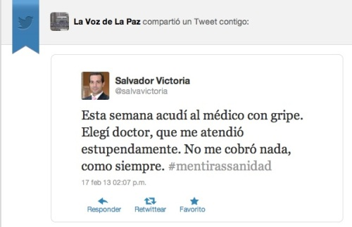 Tuit publicado por @salvavictoriael 17/02/13 a las 14:07, bajo el hashtag #mentirassanidad , pocos minutos después del fin de la Marea Blanca Nacional,