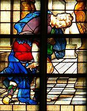 Parábola del fariseo y del publicano. Segmento de un vitral sobre la parábola, en la iglesia de Janskerk (Gouda).