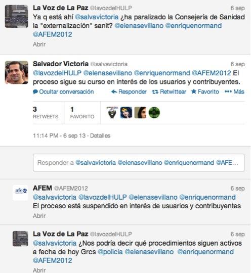 """Salvador Victoria afirma que el proceso de """"externalización"""" sanitaria no se ha suspendido"""