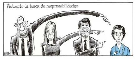 Protocolo de busca de responsabilidades (Viñeta de Ricardo en El Mundo 09/10/2014)
